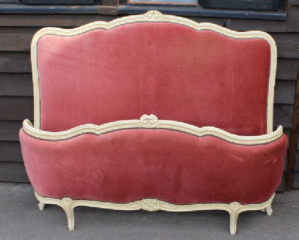 1940's Corbeille Bed , Head, foot and side rails in Red  Double. Check sizes.
