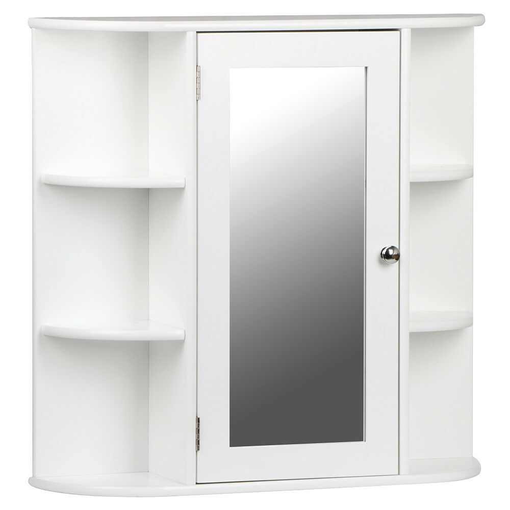 White Wooden Mirrored Bathroom Cabinet Wall Mounted Storage Shelves Cabinets New