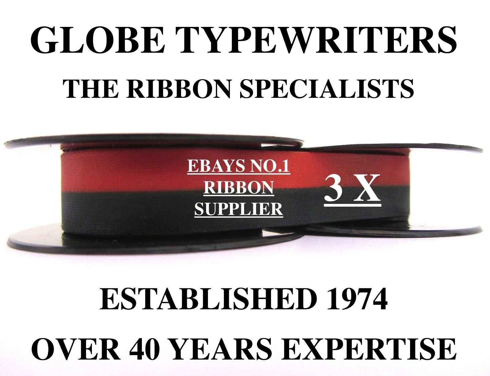 3 x OLYMPIA *BLACK/RED* TYPEWRITER RIBBONS FOR MANUAL MACHINES *TOP QUALITY* 10M