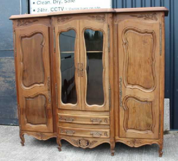 Large Elegant Carved Solid Walnut Bookcase/ Dresser Louis XV style 1920's.