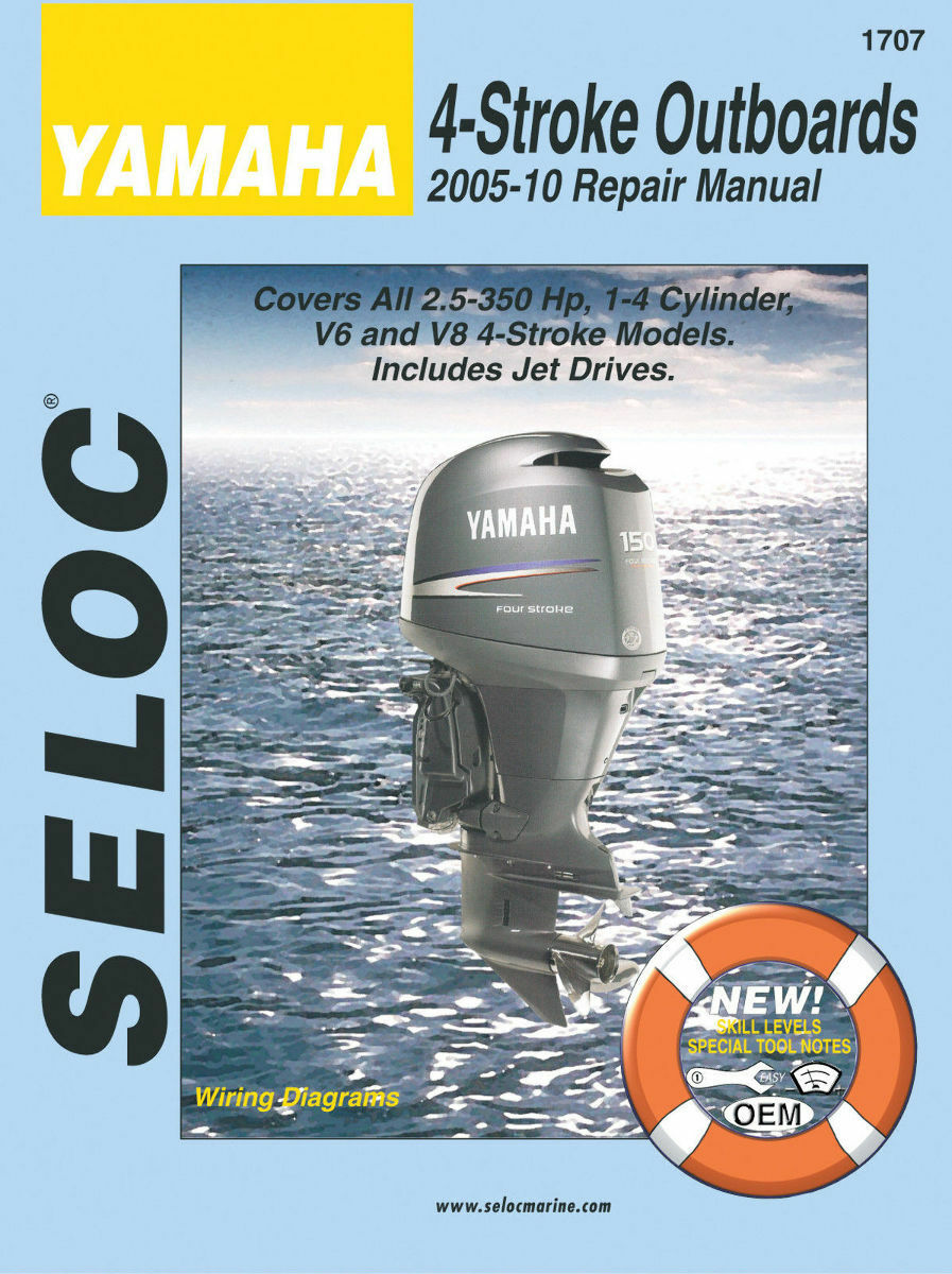 Seloc Marine Shop Repair Manual #1707 Yamaha 4 Stroke Outboards 2005-2010 1  of 1FREE Shipping See More