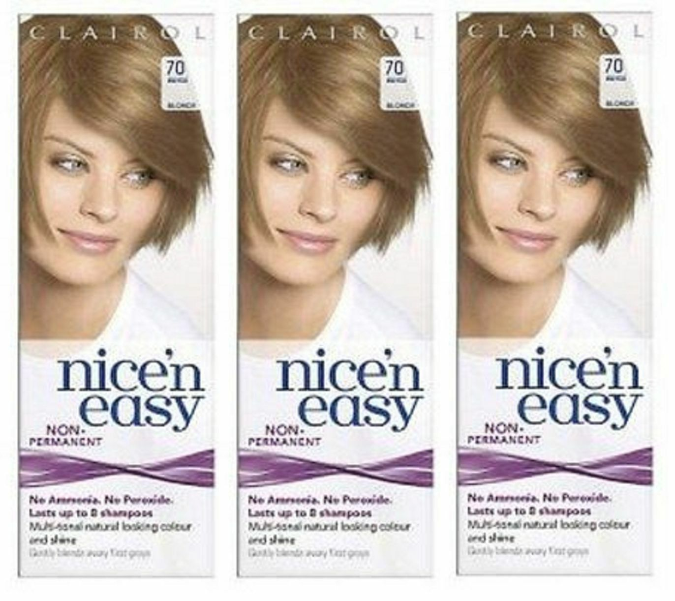 Clairol Nice N Easy Loving Care Hair Color 70 Beige Blonde 3 Pack 2949
