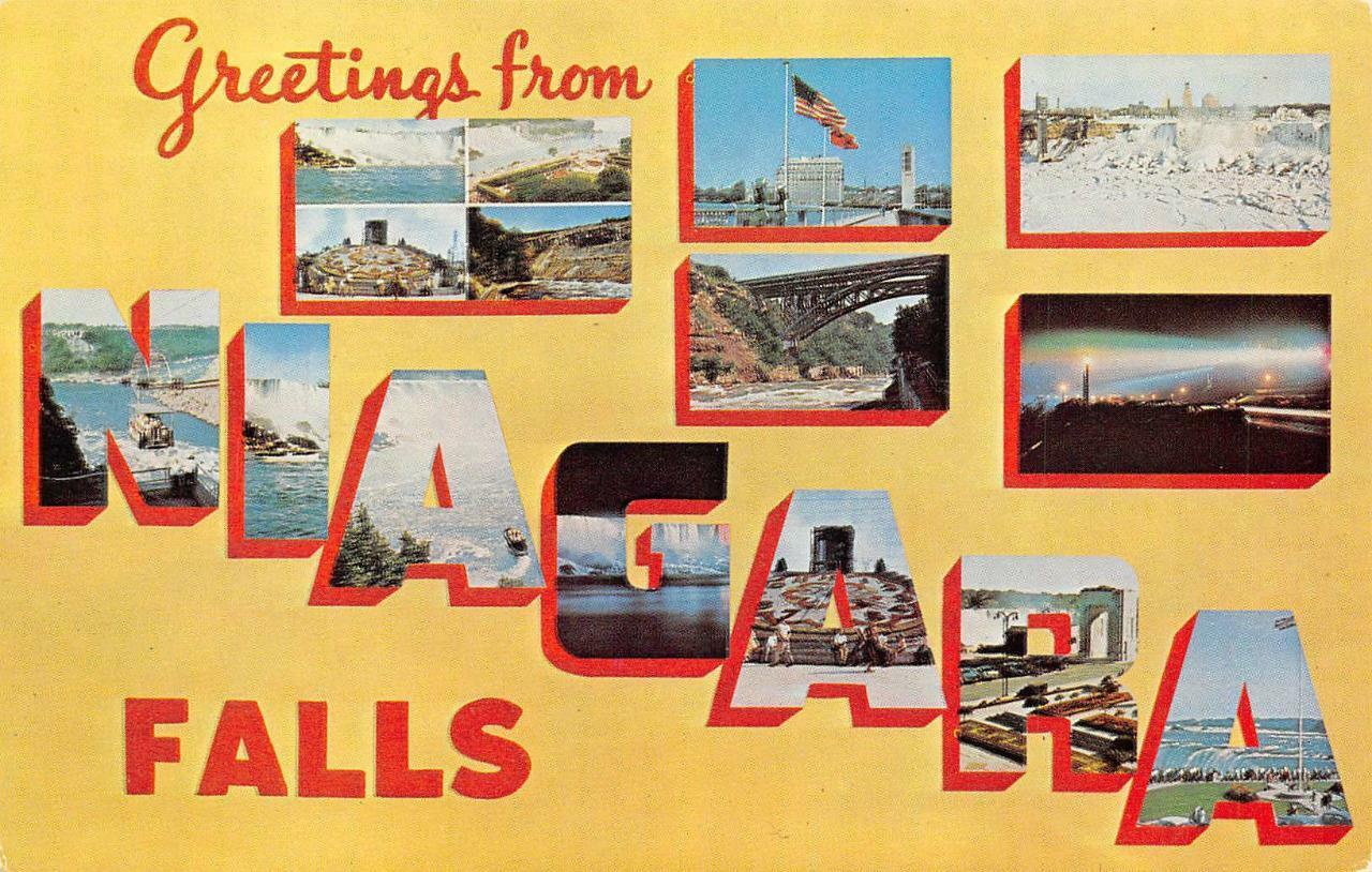 Niagara Falls Ny Large Letter New York Greetings Vintage Postcard