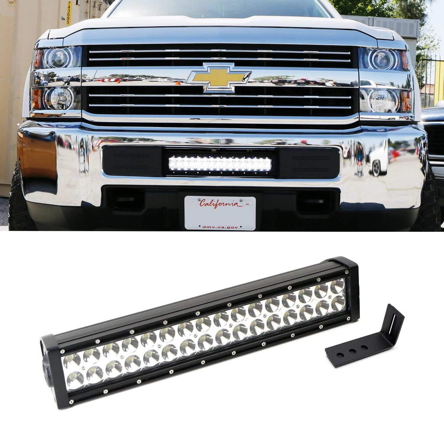 96w Led Light Bar W Lower Bumper Bracket Wiring For 15 Up Also Dodge Ram With On Rigid Silverado 1 Of 11free Shipping
