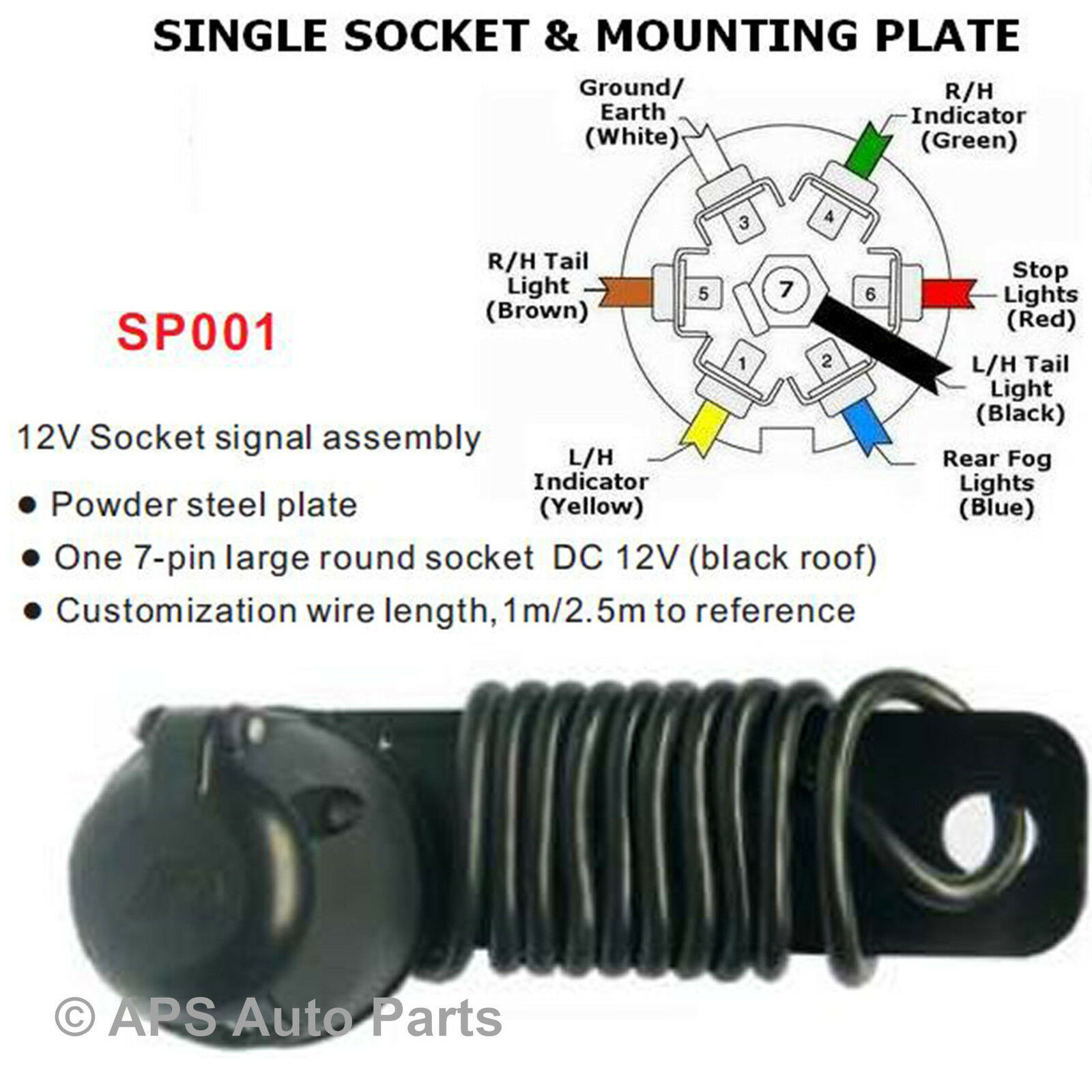7 Pin Core 2m Towbar Wiring Kit Toe Bar Cable For Trailer Lights 12n Socket 1 Of 2free Shipping