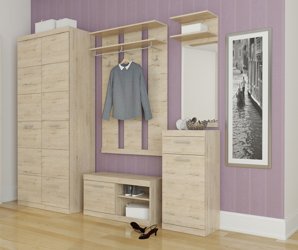 garderobe dielenset garderobenschrank 90cm spiegel schuhbank sanremo eiche neu eur 359 00. Black Bedroom Furniture Sets. Home Design Ideas