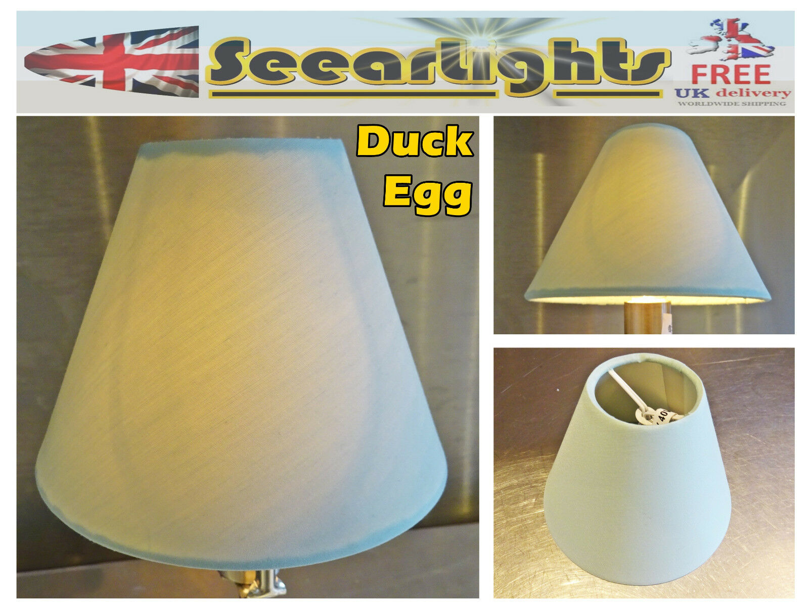 Candle Lampshade Clip-On Chandelier Wall Light Pendant Duck Egg Blue Shade Chic