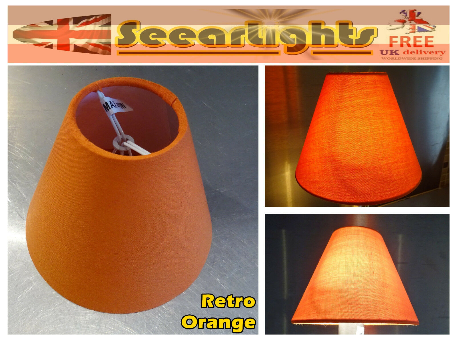 Candle Lampshade Clip-On Chandelier Wall Light Pendant Shade Orange Retro Kitsch