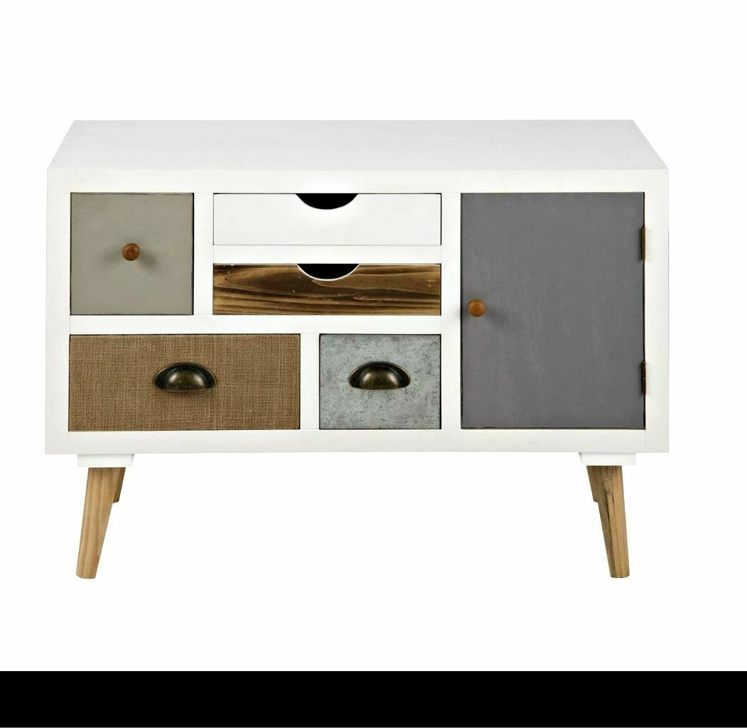 vintage sideboard cabinet retro display furniture white. Black Bedroom Furniture Sets. Home Design Ideas