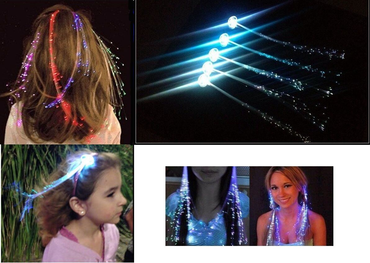 Clip In Hair Extensions Led Party Fibre Optic Light Up Disco Lights