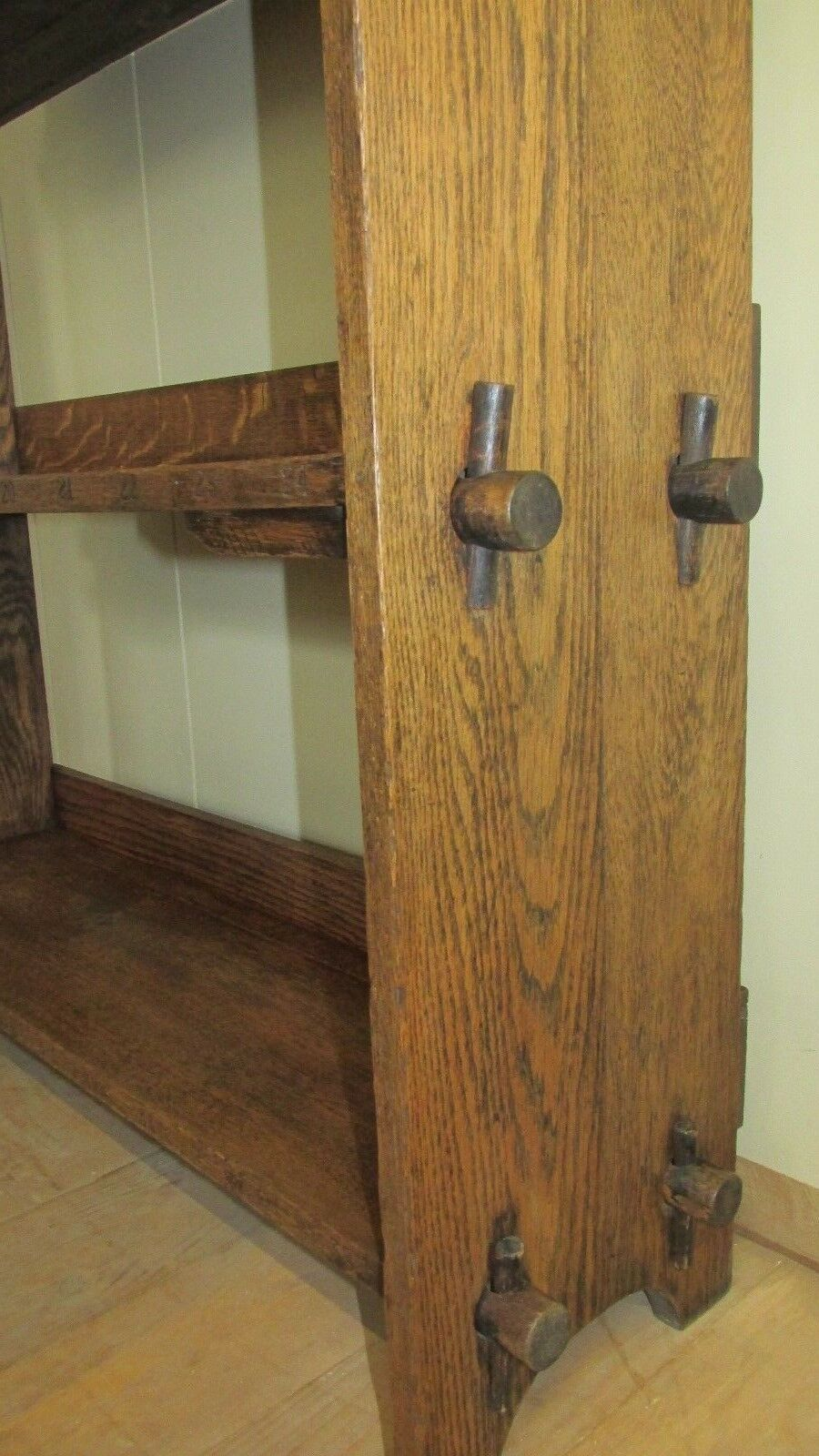 Antique bookcase Arts and Crafts pegged oak 1904 Superb