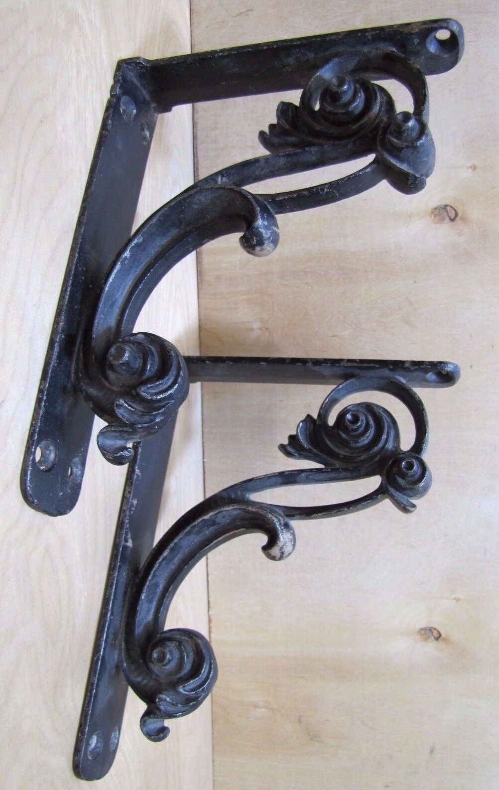Unique Pair Cast Iron Brackets Thick Swirling Scrollwork Architectural Hardware