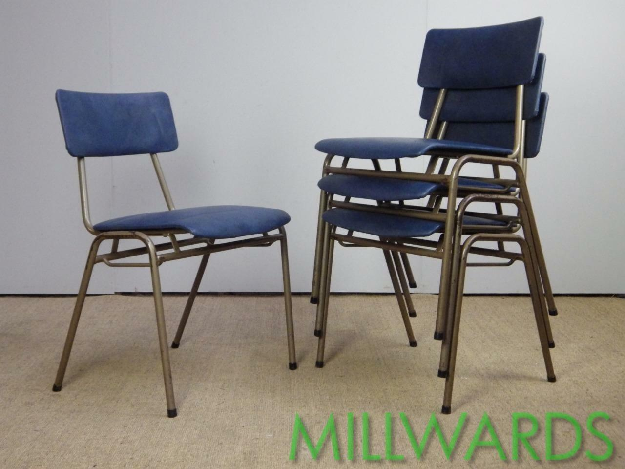 100+ AVAILABLE Vintage Stacking Industrial Remploy School Cafe Bar Chairs incVAT
