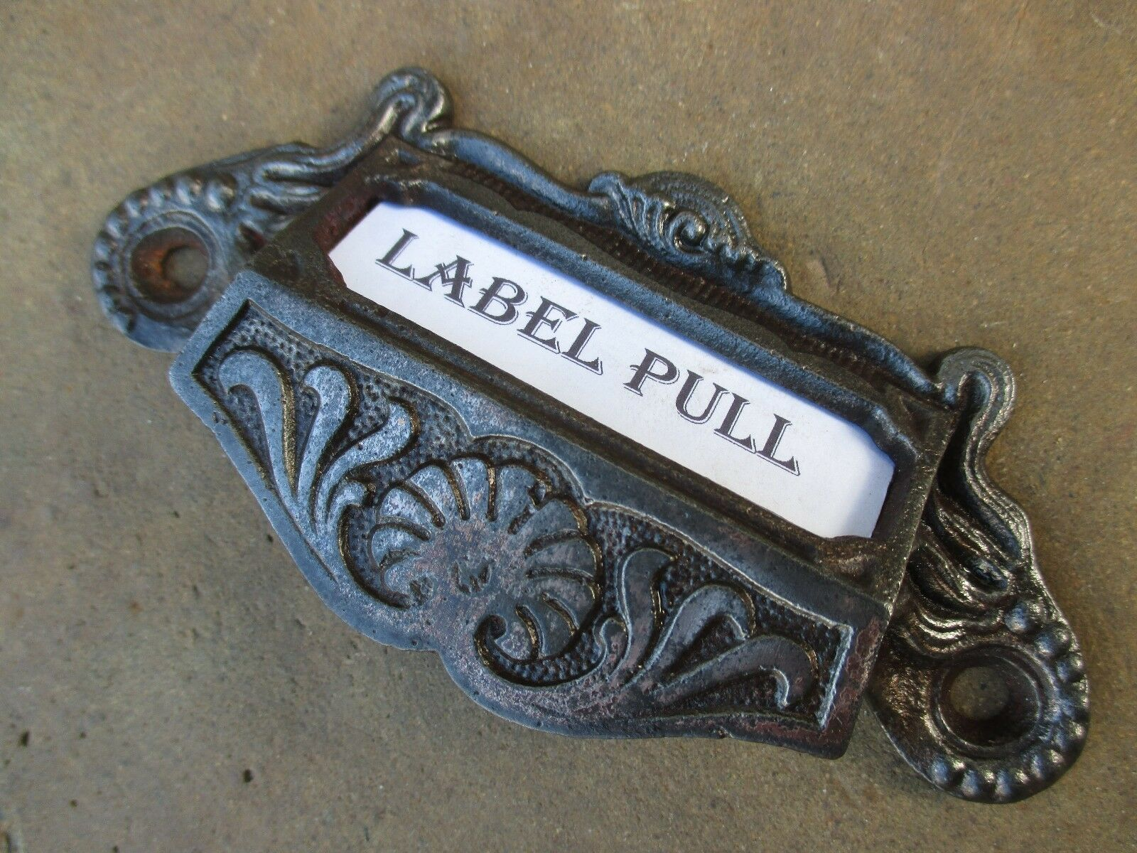 Antique Original Cast Iron Eastlake Apothecary Bin 3 Drawer Pull Label Slot