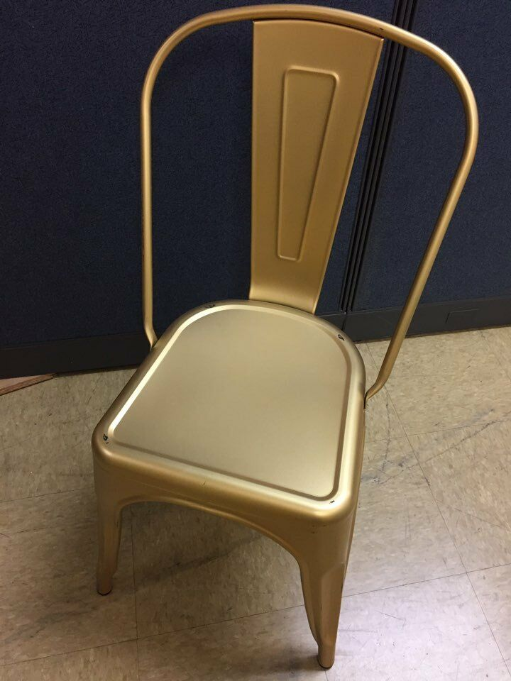 Gently Used Gold Oscar Tolix Style Chair Only $ 9.99