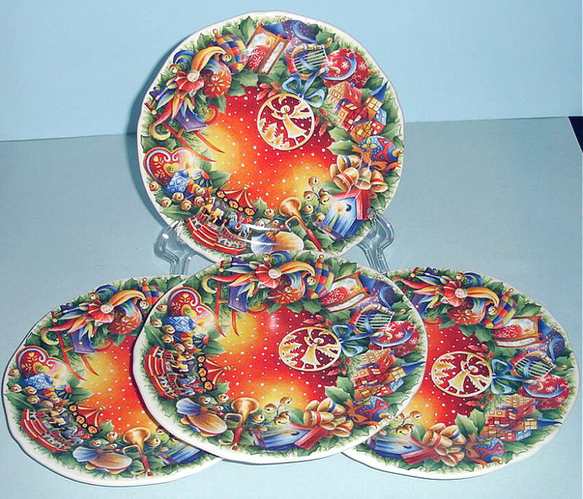 Gien noel canape appetizer plates set 4 christmas 39 09 for Christmas canape plates