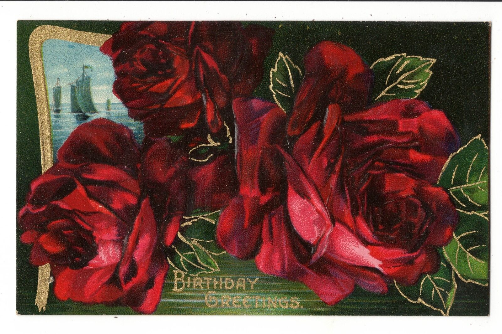Vintage Postcard Birthday Greetings Embossed Red Roses Sailboat Gold