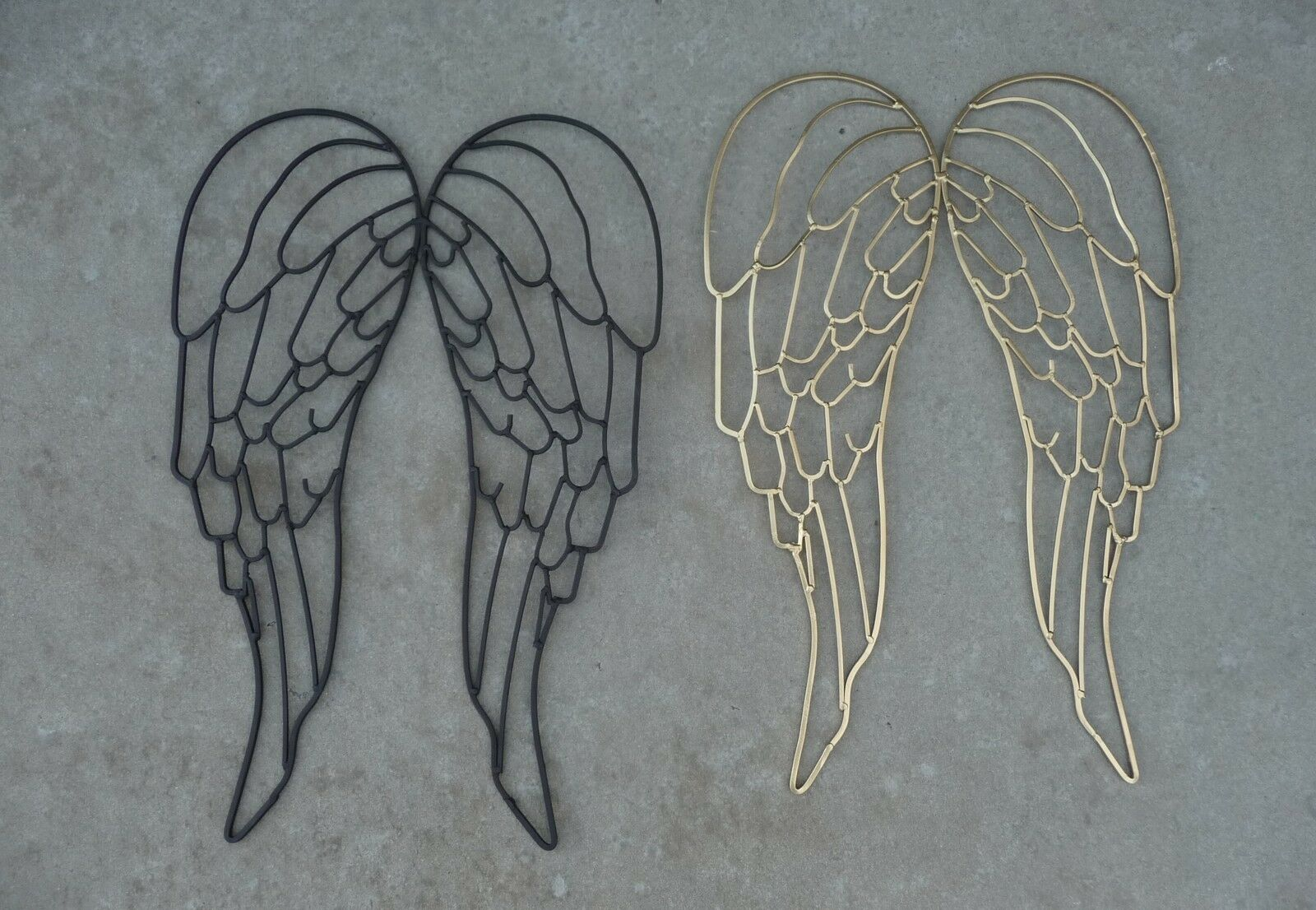 Wrought Iron Metal Angel Wings Large Wall Decor Sculpture 16 X 25