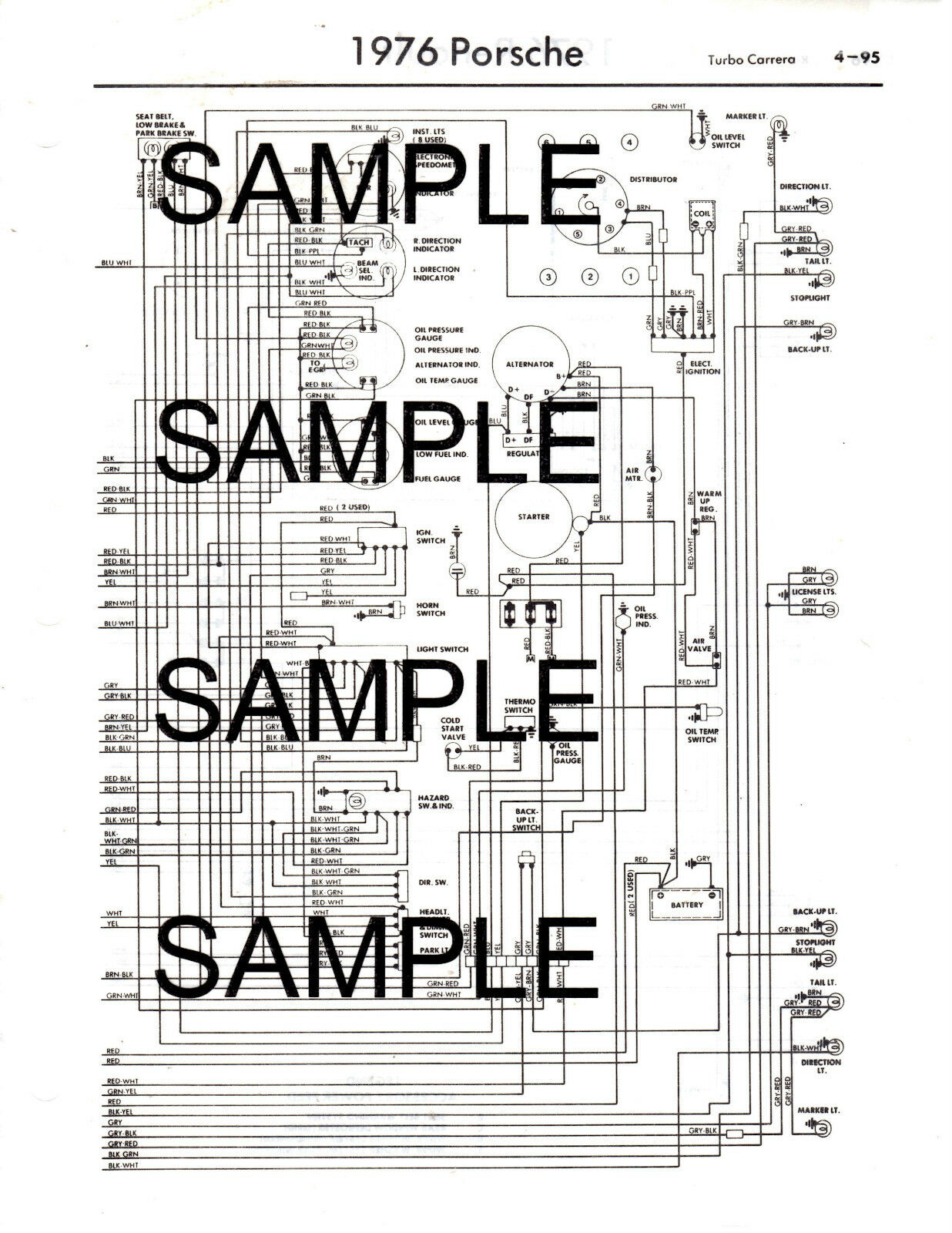 1976 Porsche 912e 76 Wiring Diagram Guide Chart 76bk 1299 Picclick 914 Ignition 1 Of 2free Shipping