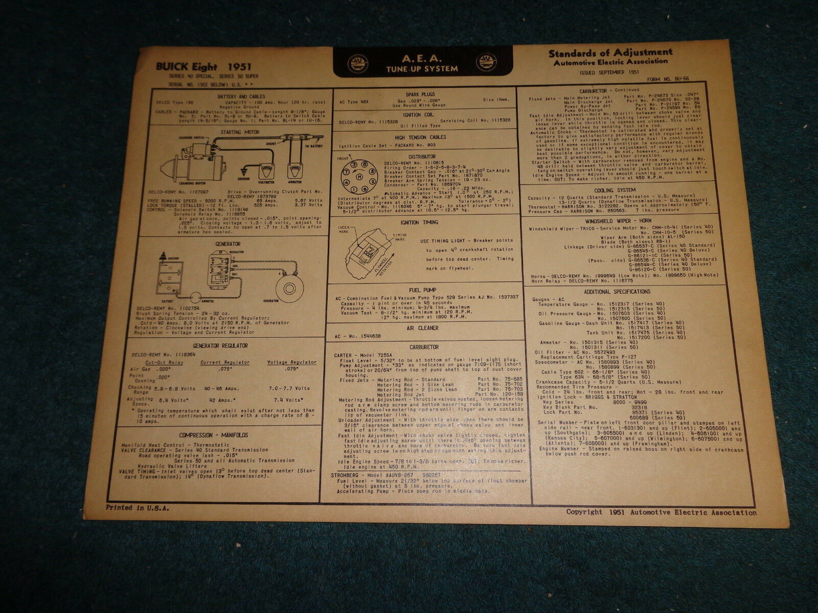 1952 Buick Super Wiring Diagram Electrical Diagrams 1941 Free 1951 Special V 8 Tune Up Chart 1965 Skylark