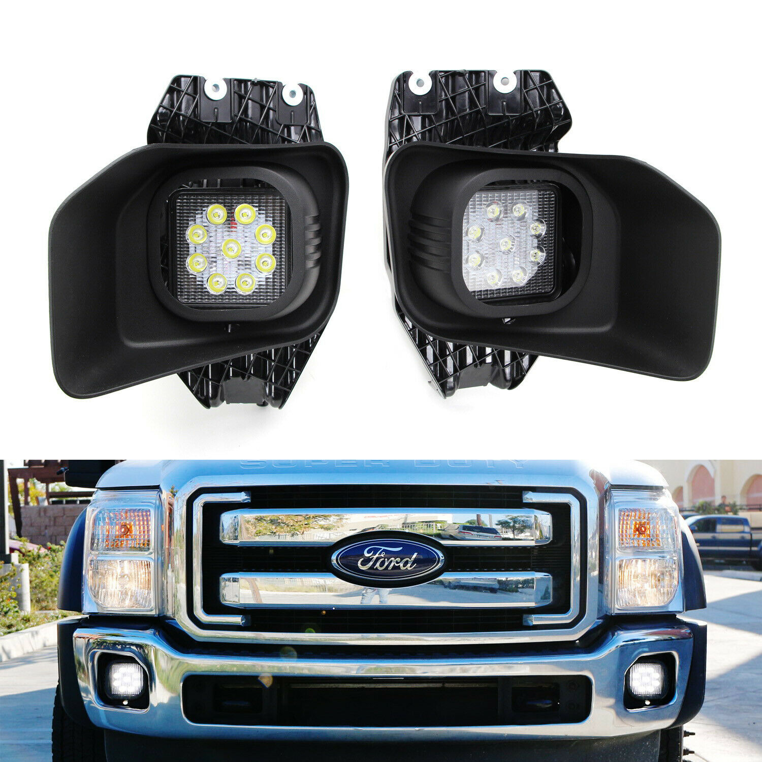 27w Led Fog Lights W Bezels Brackets Wiring For 11 16 F250 F350 Description Three Light Switches With Exposed Wiringjpg 1 Of 12only 3 Available