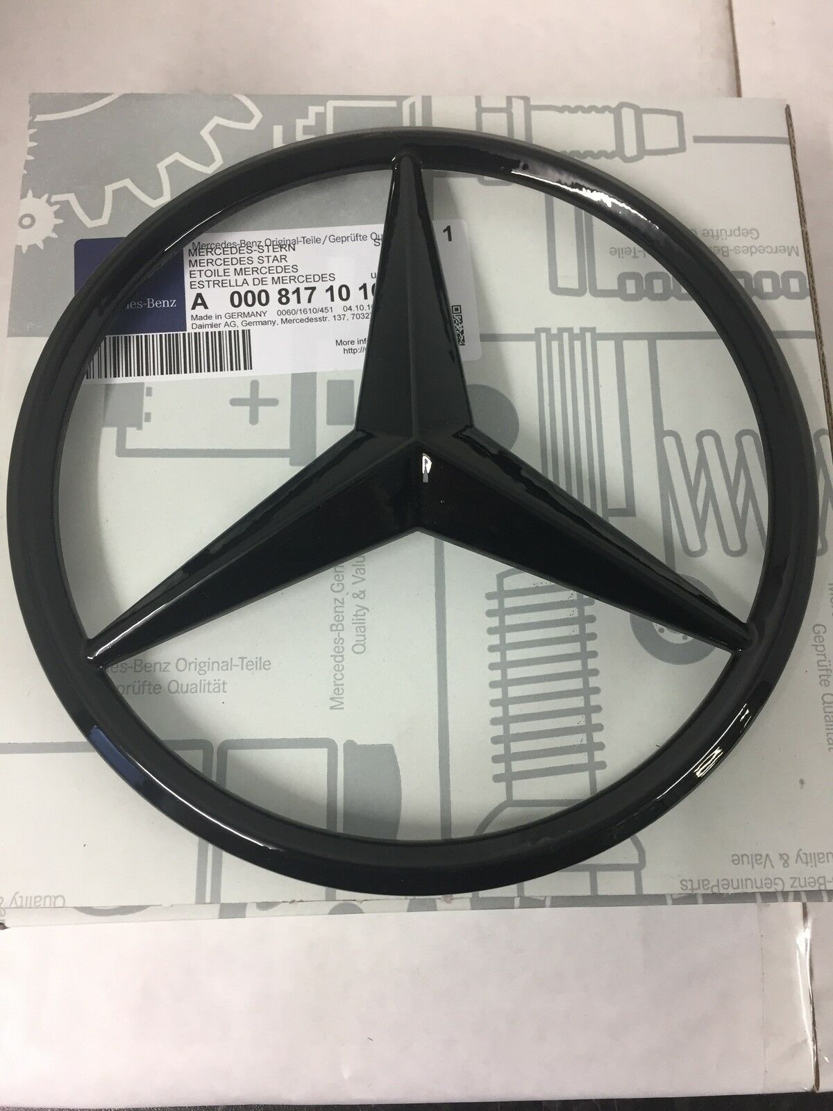 Genuine mercedes benz gloss black radiator grille star for Silver star mercedes benz parts