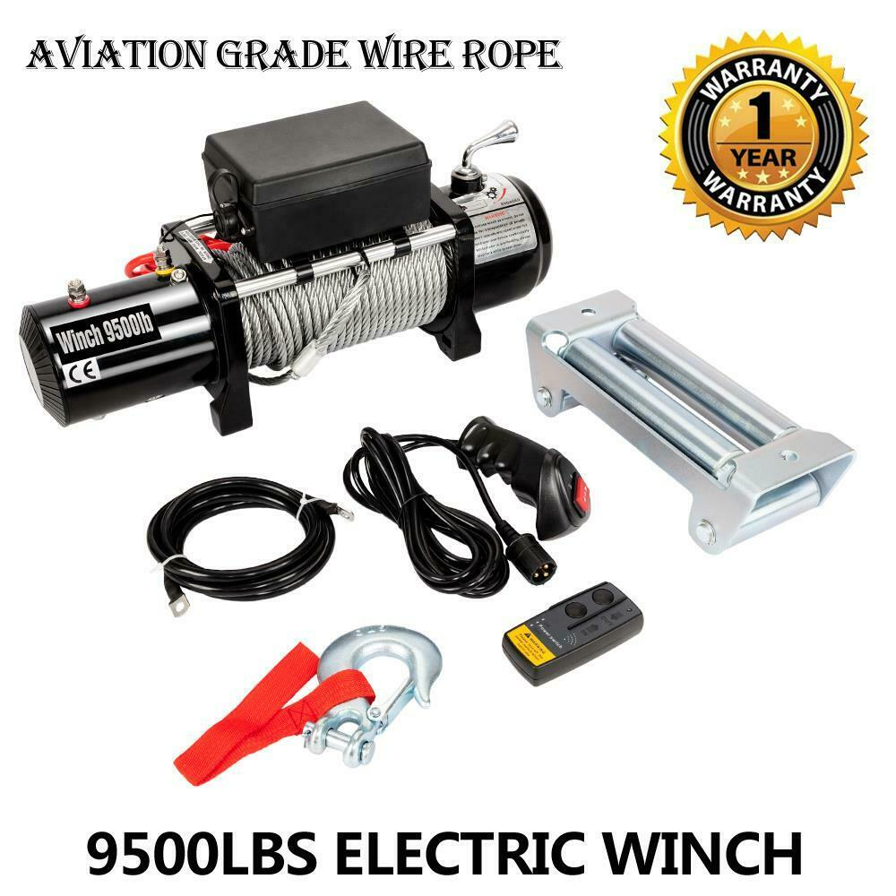 CLASSIC 12V 9500LBS Electric Winch Towing Truck Trailer Steel Cable ...
