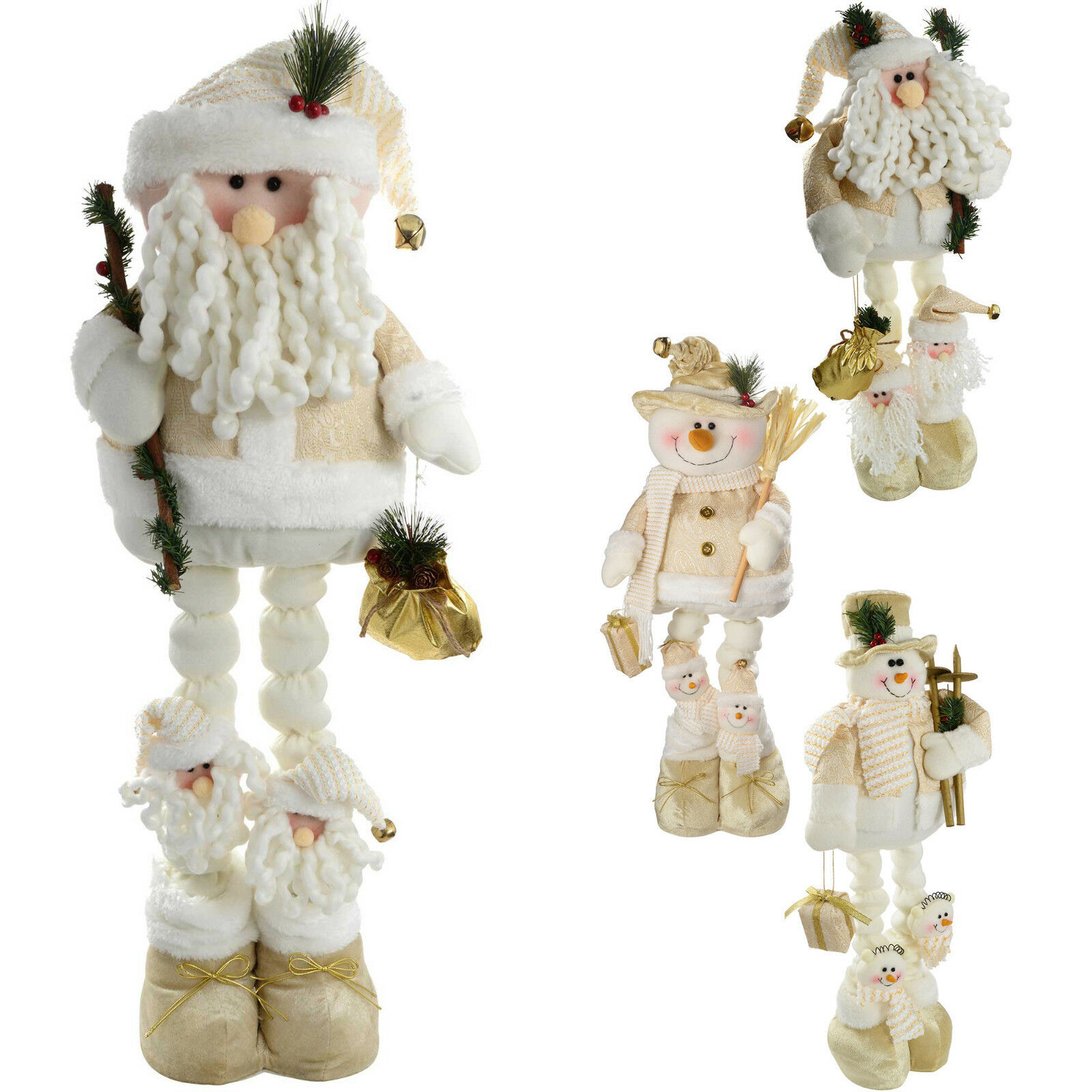 free standing santa snowman extendable legs christmas decoration creamgold 1 of 1free shipping