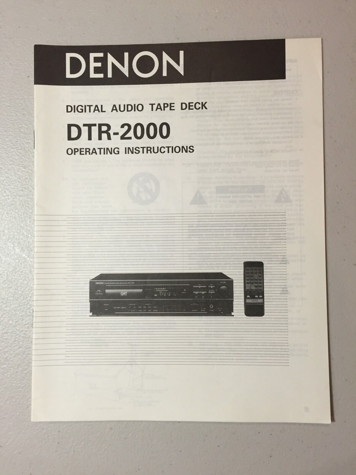 DENON DTR-2000 DAT Recorder Owner's Manual Original - NOS 1 of 1Only 5  available ...
