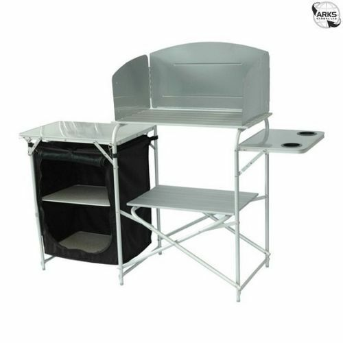 Royal aluminium camping kitchen stand with windshield for Kitchen set aluminium royal