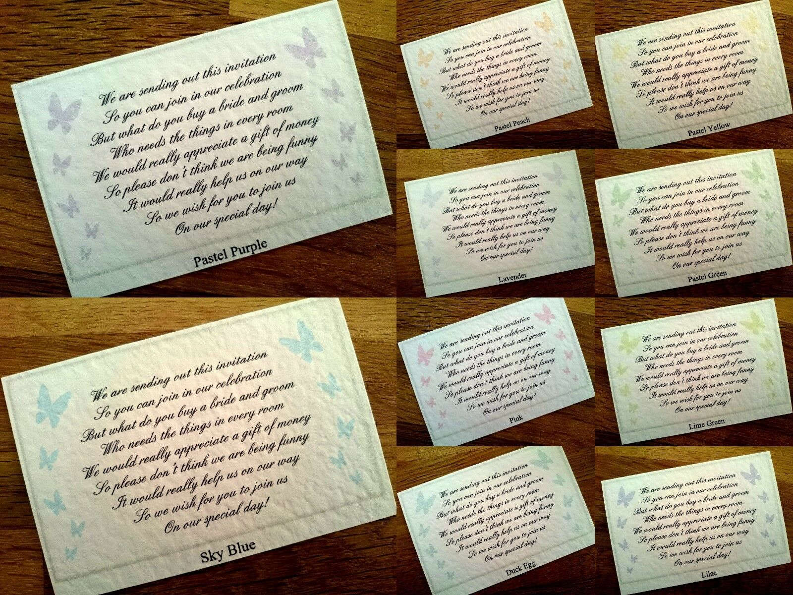 Wedding Poem Gift Cards Asking For Money Or Have Your Own Poem 19
