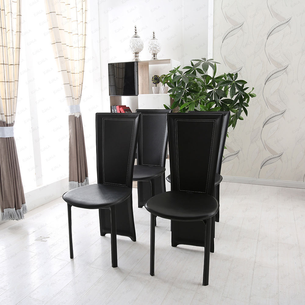 Modern 4 x black high back pu leather dining room office for 4 x dining room chairs