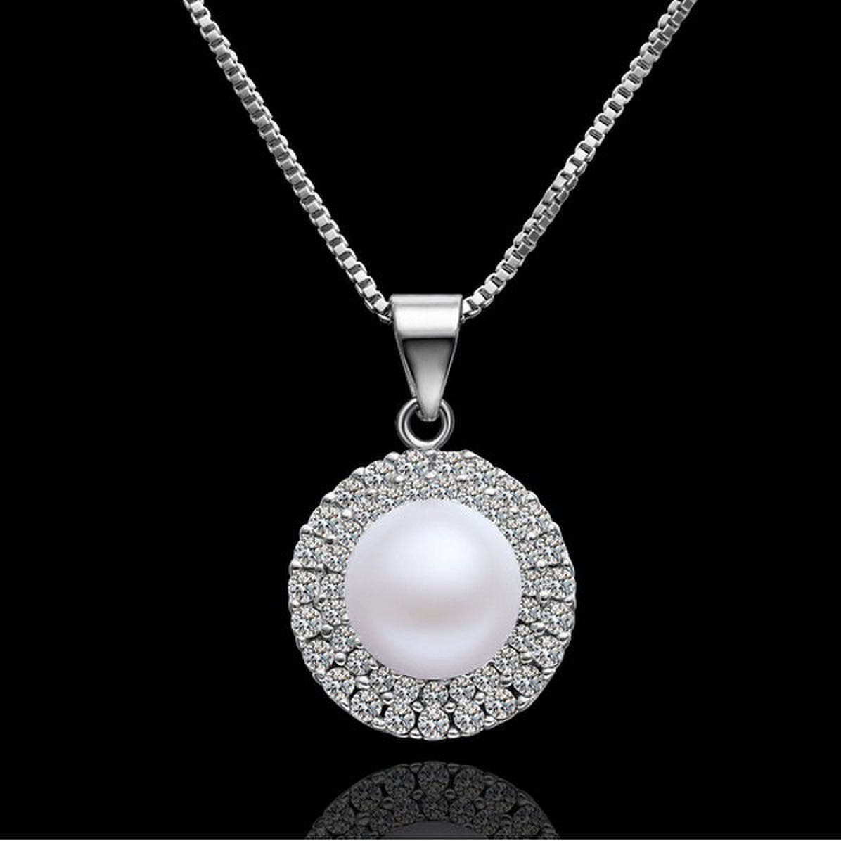 natural pearl pendant solid silver charm necklace long. Black Bedroom Furniture Sets. Home Design Ideas