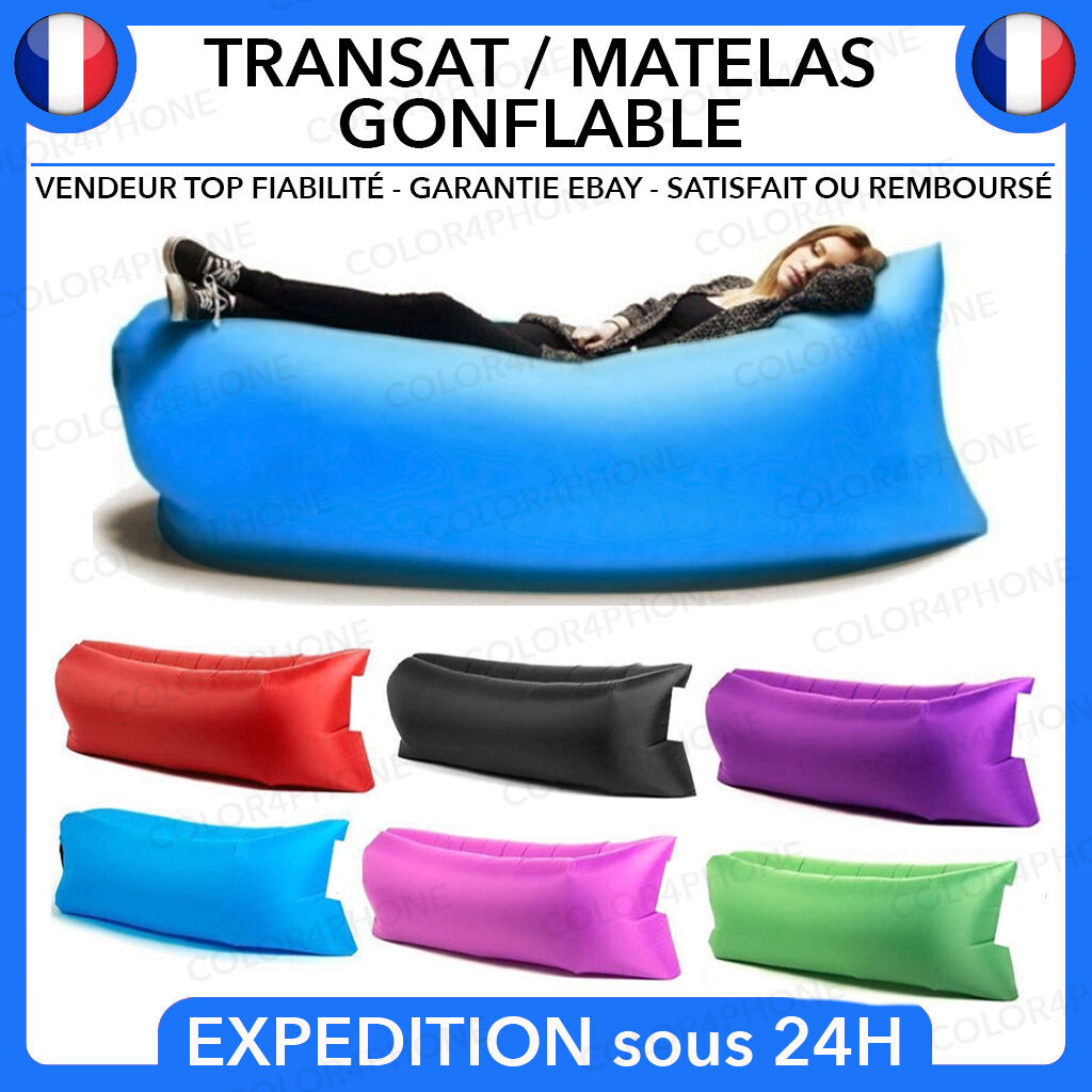 matelas transat canape pouf gonflable air bou e piscine siege camping avec sac eur 12 90. Black Bedroom Furniture Sets. Home Design Ideas