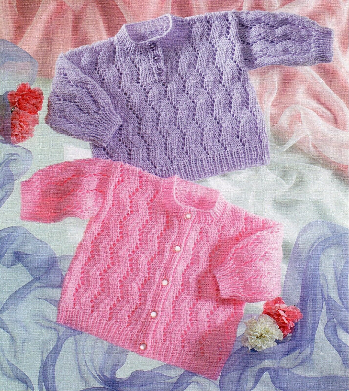 Gorgeous BABY Knitting Pattern copy knitted in 8 Ply CARDIGAN & Jumper   ...