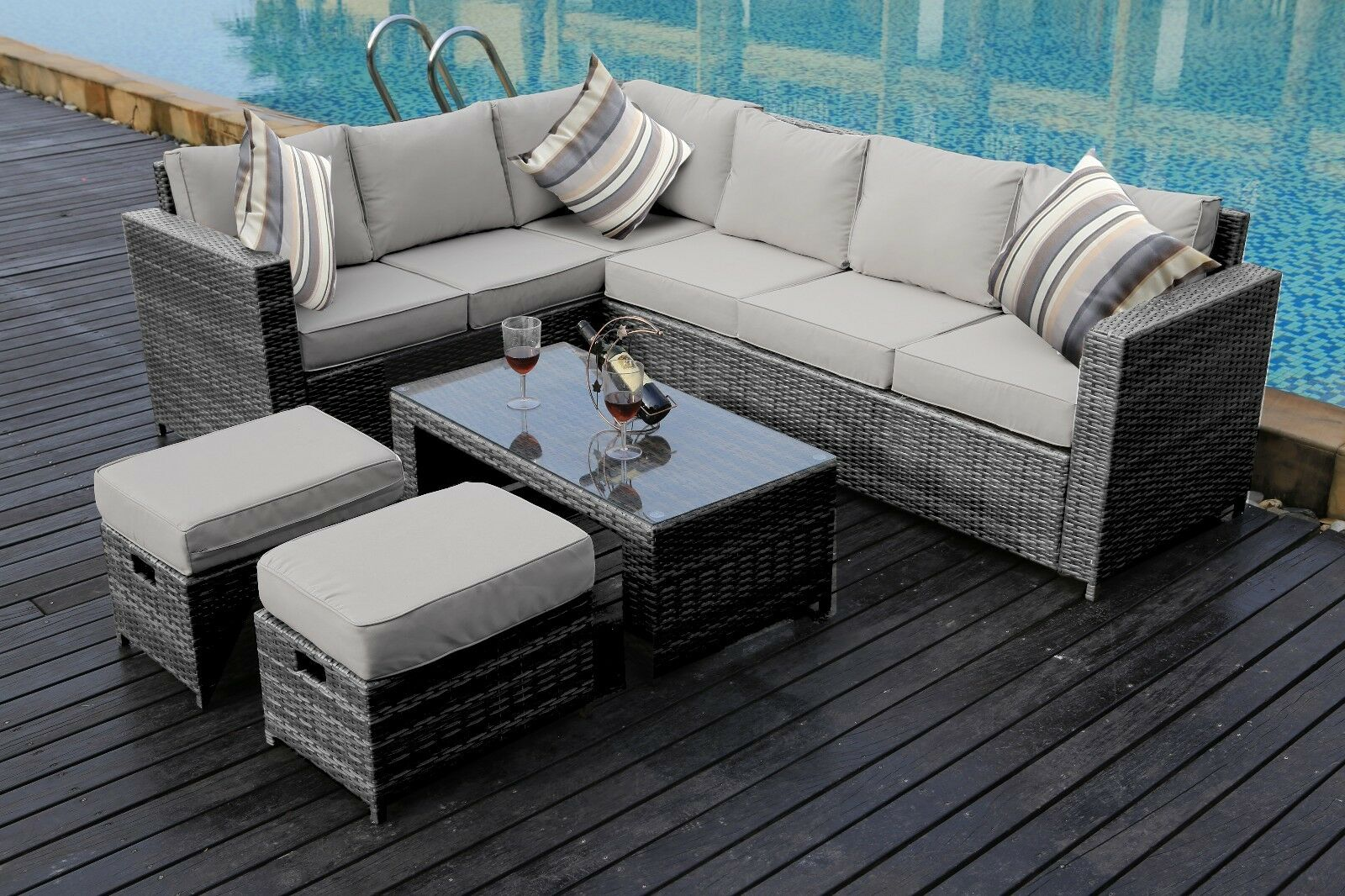 New Conservatory Modular 8 Seater Rattan Corner Sofa Set Garden Furniture Grey