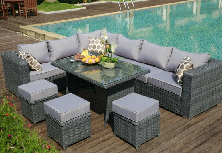 2016papaver Range 9 Seater Rattan Corner Sofa Dining Set Garden Furniture Grey