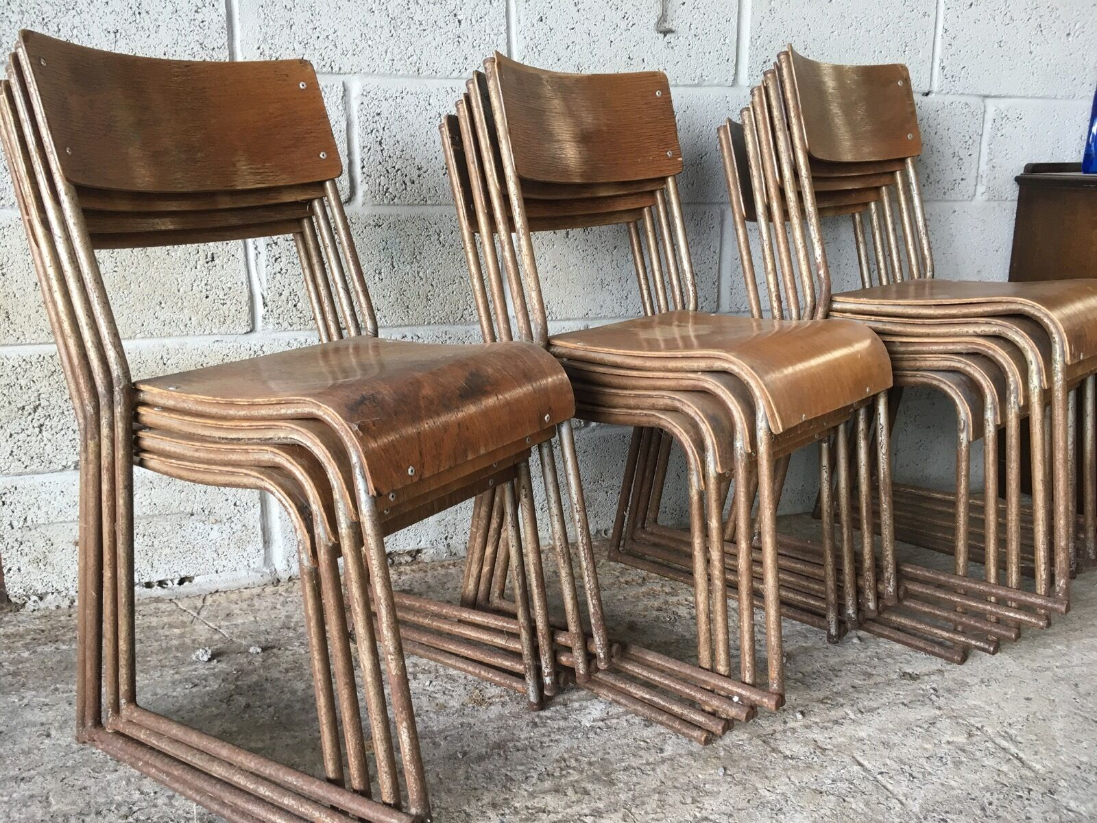 13 X Vintage Retro Stacking Chairs Metal Plywood Industrial School Old Church