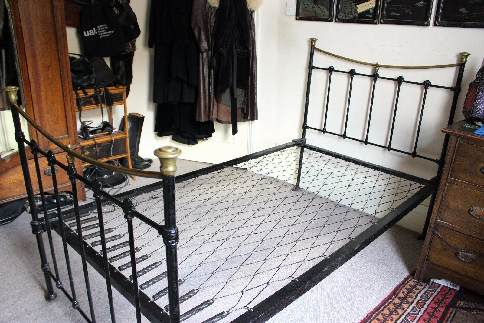 Antique Victorian Metal Bed : Antique victorian black cast iron brass metal bed frame