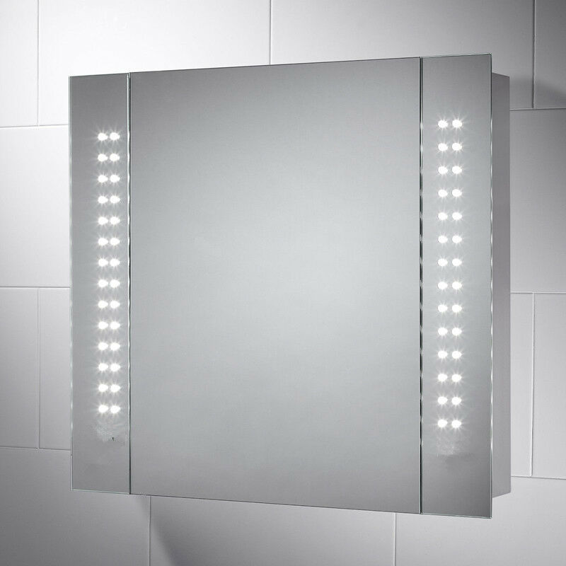 illuminated bathroom mirror cabinet demister shaver sensor galactic uk