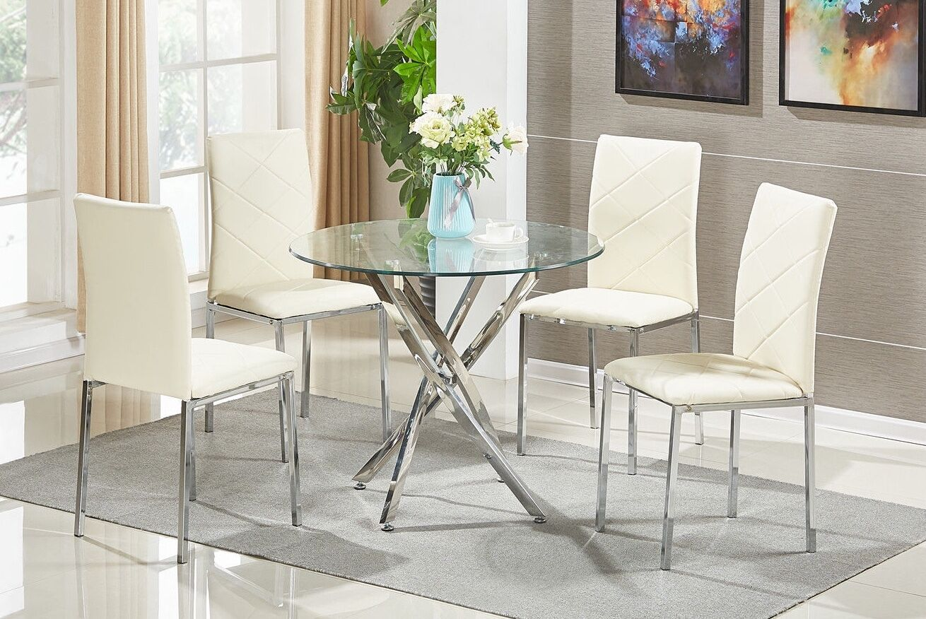GLASS ROUND DINING Table Set And 4 Chairs Modern Chrome