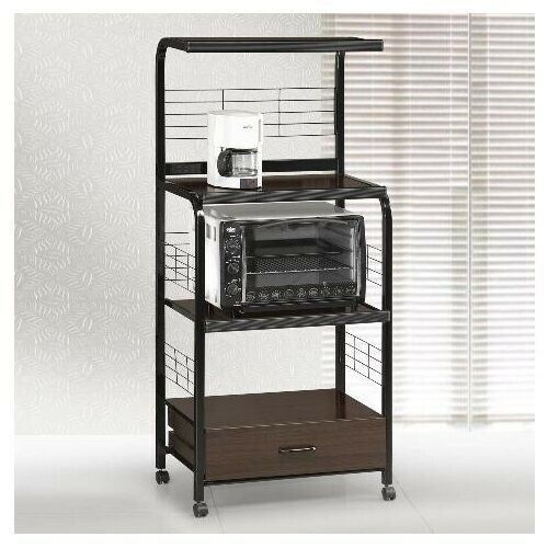 Brown Wood Black Metal Microwave Cart Kitchen Storage Shelf Rolling Stand  Rack 1 Of 2Only 3 Available See More