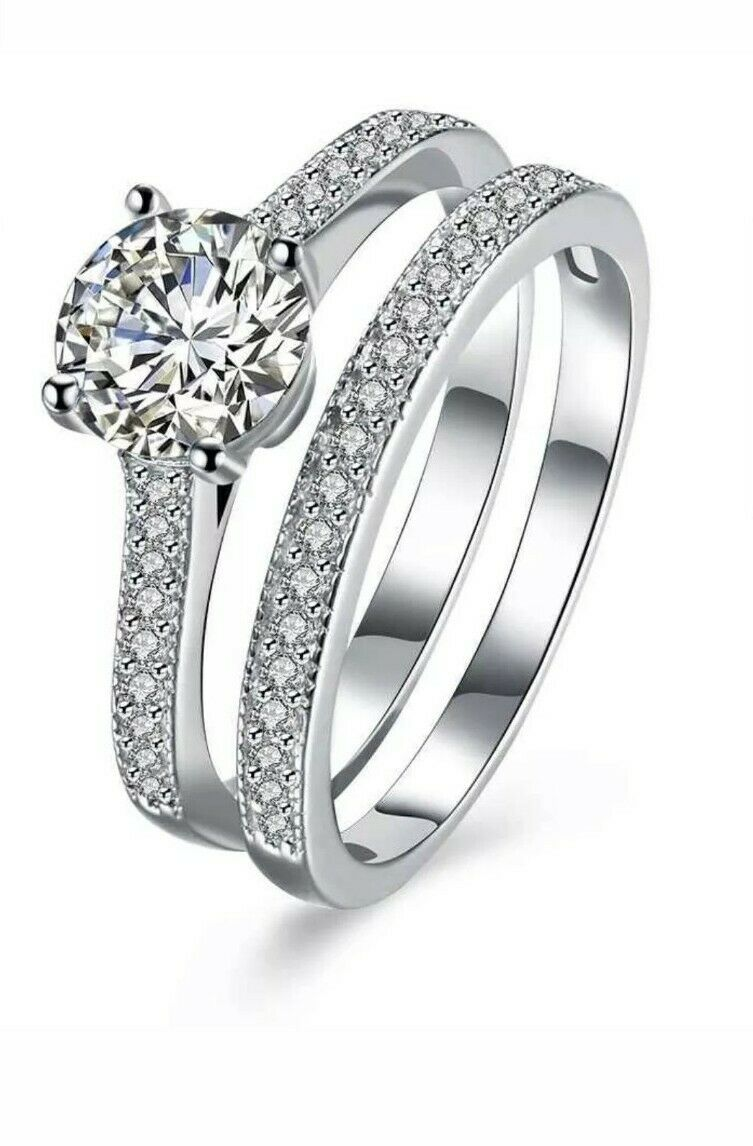2 0ct 2pc engagement wedding ring set in 925 sterling