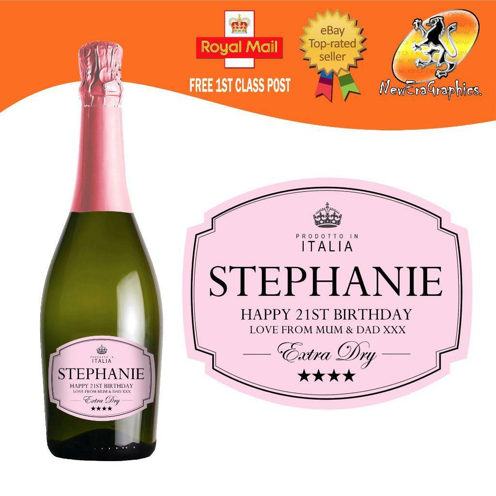 PERSONALISED PROSECCO PINK Rose Bottle Label Birthday Wedding Any ...