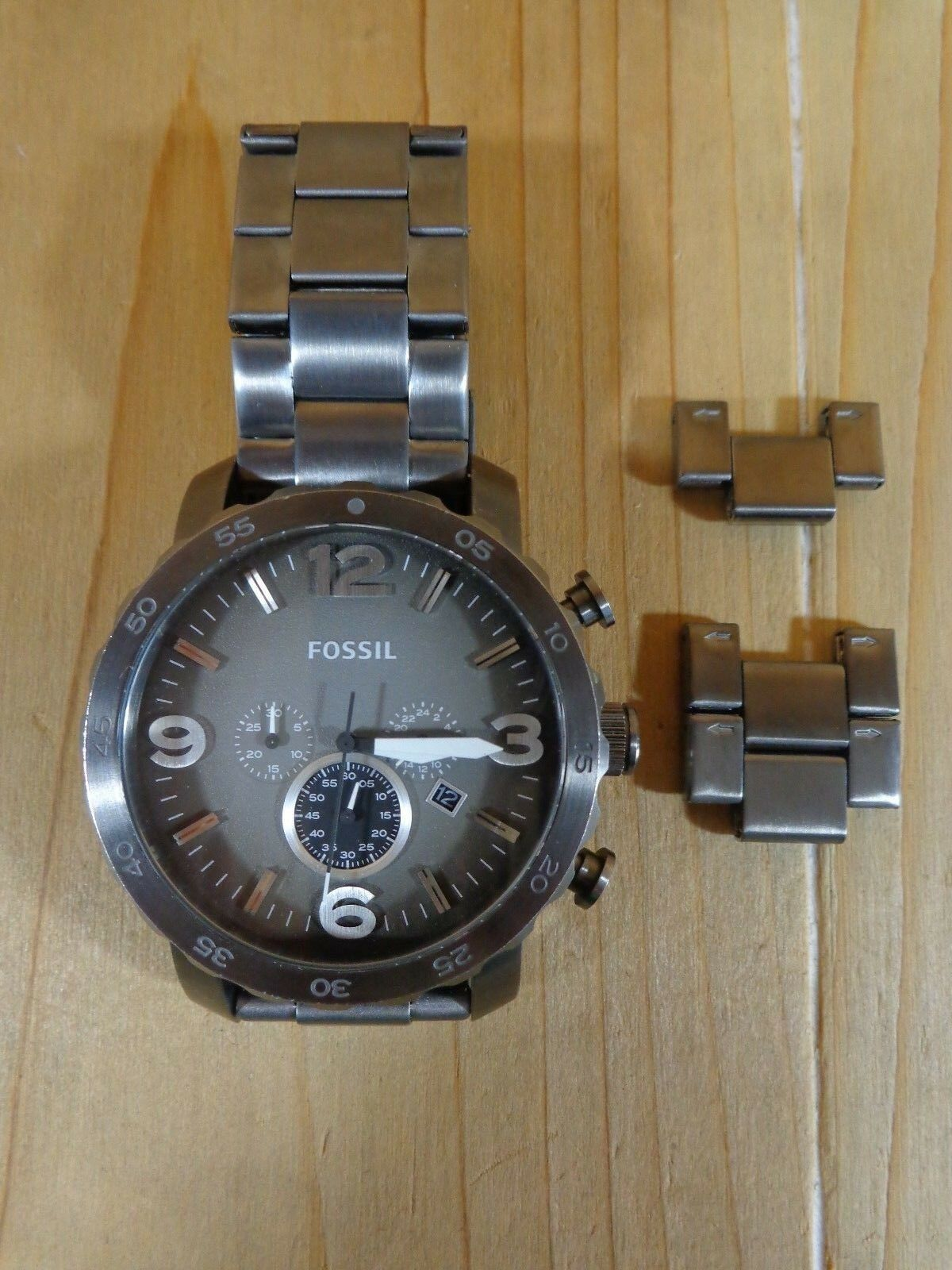 Fossil Wrist Watch Mens Jr1437 Nate Chronograph Smoke Stainless Fs4787 1 Of 5only Available