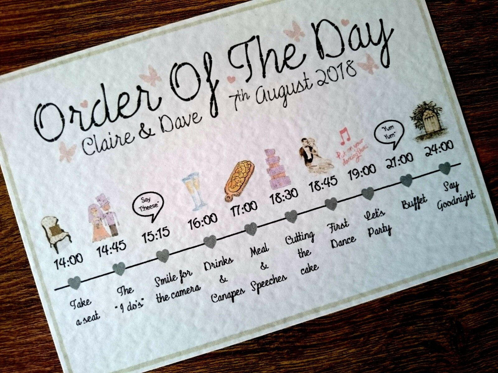 Wedding Order Of The Day: A3/A4/A5/A6 PERSONALISED WEDDING Order Of The Day