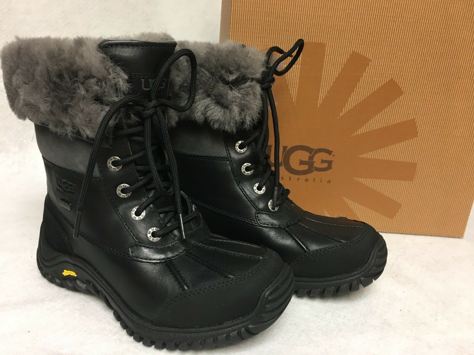 UGG AUSTRALIA ADIRONDACK II BOOTS BLACK / Gray Grey 1906 Women's Shoes box sizes 1 of 12Only 4 available ...