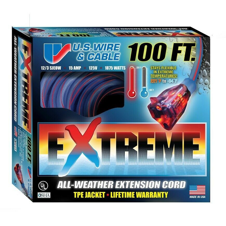 US WIRE 99100 12/3 100-Ft TPE Extreme Weather Extension Cord with ...