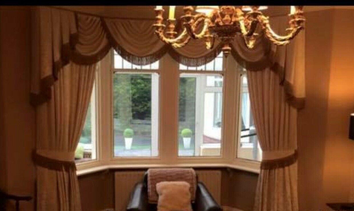 Designer Curtains Overlapping Swags Tails Cream With Brown Fringe