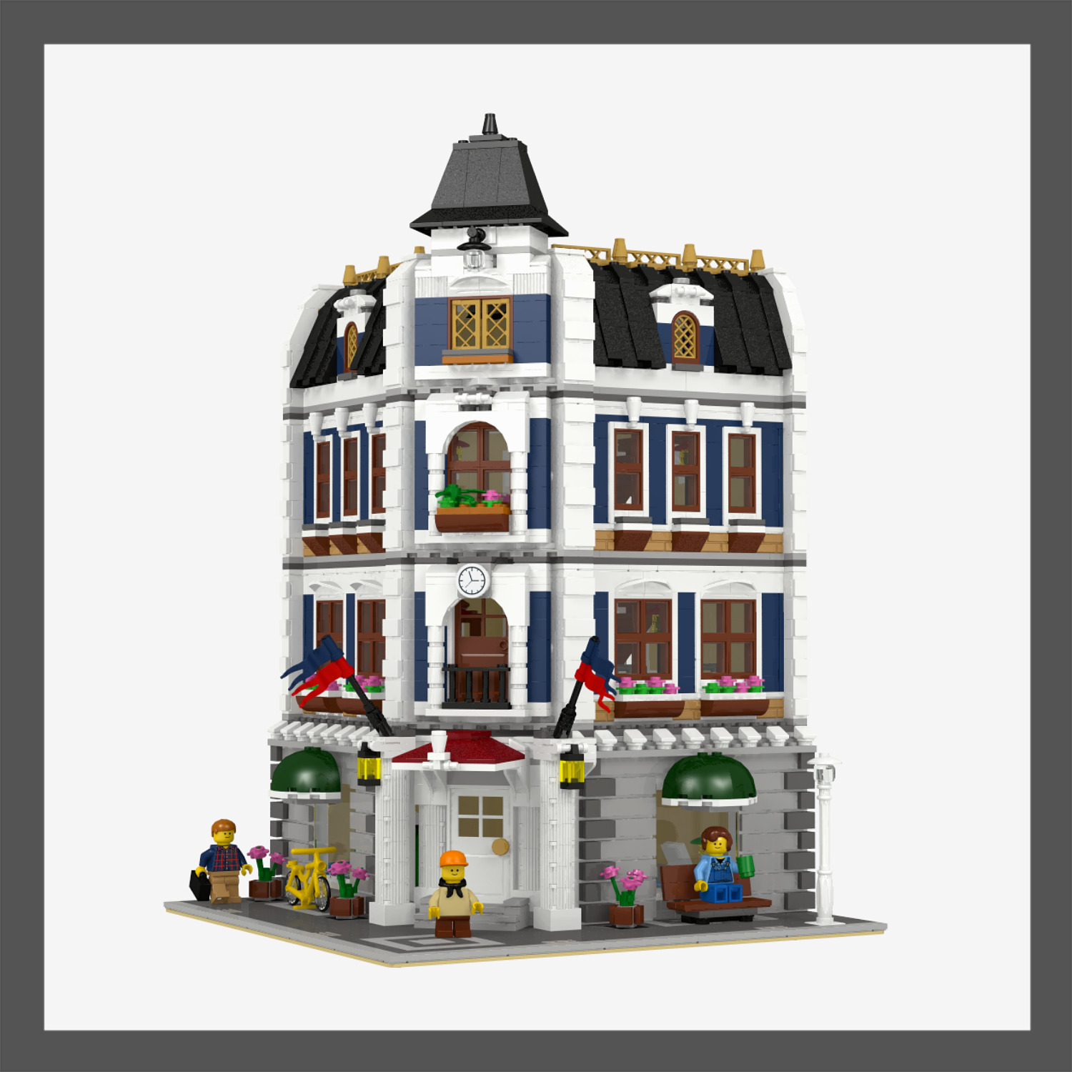 Lego Custom Modular Coffee Shop Library Instructions Only